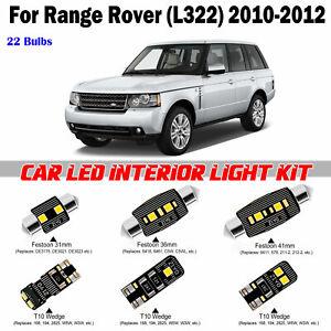 22 bulbs Xenon White LED Interior Light Kit For Land Rover Range Rover 2010-2012