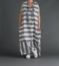 ♦AKH FashionLeinen-Long-Kleid Gr. 44,46,48,50,52,54 grau-weiß Streifen, breit ♦