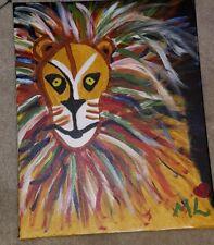 ORIGINAL LION king of the jungle SELF TAUGHT Raw Brut  NAIVE Folk OUTSIDER art