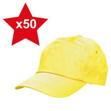50 x Yellow Classic Plain Adjustable Baseball Caps 100% Cotton Brand New Job Lot