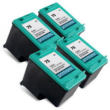 4pk Printronic For Hp 75 CB337WN Color Ink Cartridge