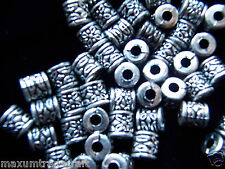 100 pcs  8mm tibet silver style cylinder acrylic beads by 1st class