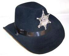 KIDS BLACK VELVET SHERIFF HAT W BADGE cowboy headwear COP NEW