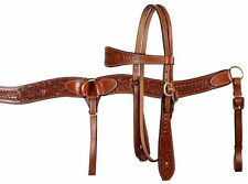 LEATHER WESTERN HORSE HEADSTALL BRIDLE W / 7' SPLIT REINS & BREAST COLLAR PLATE