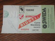 TORINO INTER BIGLIETTO TICKET CALCIO 1987/88 SERIE A