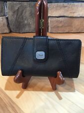 Fossil Vintage Maddox Black Leather Checkbook Wallet Purse Clutch