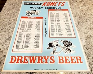 Fort Wayne Komets 1966-67 Hockey 22x14 Hanging Schedule Drewrys Beer Advertising