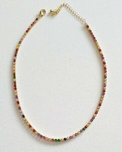 18k Gold Plated Rainbow CZ Crystal Tennis Necklace Other Bloggers Stories