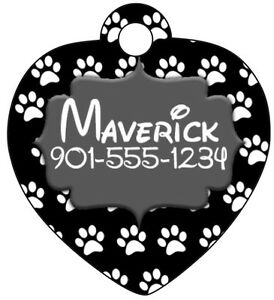 Disney Themed Paw Prints Pet Id Tag for Dogs & Cats Personalized w/ Name, Number