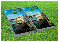 Ship at Dock Cornhole Beanbag Toss Game w Bags Game Boards Digital Set 1032