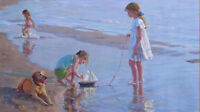 CHENPAT383 3 little girl playng on beach art hand-painted oil painting canvas