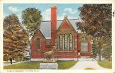 TILTON, NH New Hampshire PUBLIC LIBRARY~Deer Statue BELKNAP COUNTY 1920 Postcard