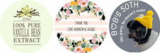 personalised Stickers 100 colour printed or photo wedding stickers Round 50mm