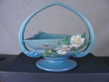 """Roseville Pottery White Rose on Blue Basket #362-8""""  Vintage"""