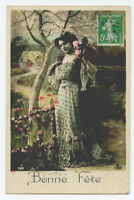 c 1910 Glamour Woman Women PRETTY LADY Fashion French photo postcard