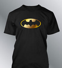 Tee shirt Batman S M L XL XXL homme super heros jaune or miroir gold carbone