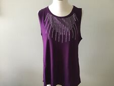Star Vixen Purple Women's Shirt New P/L Petite Large Sequin Sleeveless Club