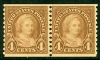 USA 1923 Martha Washington 4¢ Coil Pair Perf 10 Scott 601 MNH J27 ⭐⭐⭐⭐⭐