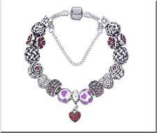 Bracelet Charms Européen perles émail et Cristal Plaqué Argent 20 cm Cadeau Noël