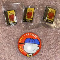 Lot 4 Peanuts 45th Anniversary Pin 1995 Charles Schultz Charlie Brown Snoopy
