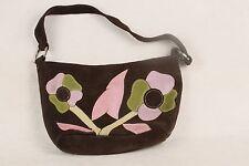 New York & Co Brown Suede Handbag Purse Floral Applique Pink Green Purple Lilac