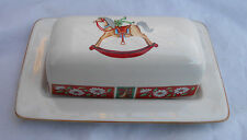 CHARLTON HALL KOBE COVERED BUTTER DISH 1/4 P JAPAN CHRISTMAS ROCKING HORSE