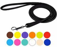 Rolled Leather Dog Leash 4 or 6ft Soft Padded Training Dog Lead Small Large
