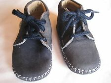 Rilo Blue Leather Lace-Up Baby Shoes - Infant Size 2 (3-9 mo's)