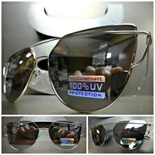 CLASSIC VINTAGE Style SUN GLASSES Silver Flat Top Wire Frame Chrome Mirror Lens