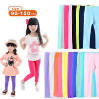 Plain Children Age 2-13 Cotton Full Length Leggings Girls Kids 15 Colours Brand