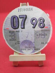 Dodge HGV Old Lorry DVLA Vehicle Original 6 Month Tax Disc Discs Stamp Rare 98