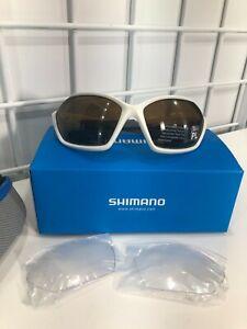 Shimano Sunglasses CES71X Mat Metallic White/ Dark Grey/ Polarized Brown