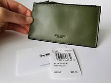 New COACH ZIP CARD CASE forest green leather purse compact wallet