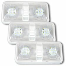 3X NEW RV LED 12v CEILING FIXTURE DOUBLE DOME LIGHT FOR CAMPER TRAILER RV MARINE