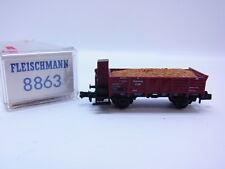 LOT 51702 Schöner Fleischmann 8863 offener Güterwagen Omk Brshs  Spur N in OVP