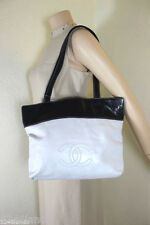Vintage CHANEL White & Brown Leather Tote Shoulder Bag Italy