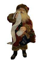 "KSA Inc Large Vintage Santa Checking List Stocking Toy Bag Fabriche 16.5"" Decor"