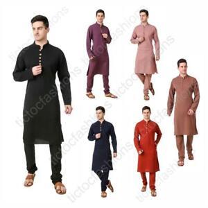 Mens Kurta Pajam Indian Art Bubble Georgette Casual or Wedding Festive Dress Set
