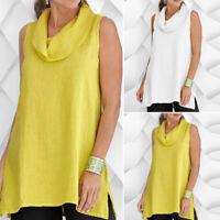 ZANZEA Womens Sleeveless Cowl Neck Split Vest Tops Loose Blouse Cami Shirt Plus