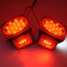 """One Pair Boat Red LED Square Lights Trailer Under 80"""" Tail Stop Brake NO Wiring"""