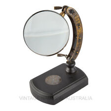 Vintage Nautical Magnifying Glass Engraved Brass Arc Wooden Base Antique Gift