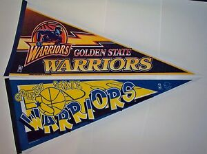Set of 2 Golden State Warriors 1990s Old Logo Full Size Pennant