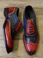 Handmade Mens Brogue WingTip Latest Style Two Tone Leather Shoes, Sizes upto 20