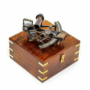 Brass antique vintage working nautical sextant with hardwood box christmas gift