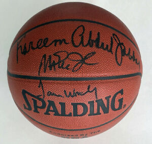 Magic Johnson, Kareem Abdul, Jabbar & James Worthy Autographed Basketball ASI