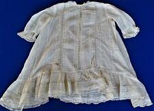 Antique Girls sz 2-3  Cotton Dress 1880-1910 era Tucks Lace Ruffles Victorian