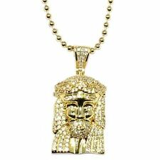18k Gold Plated Micro Jesus Piece1 inch with 30 inch ball chain Necklace