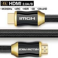 4K HDMI Cable 3/6/10/15/25ft (4K UHD-HDMI 2.0)-BEST Quality 28AWG -Braided Cord