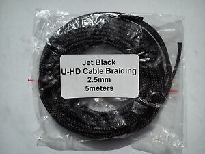 Cable Modders Expandable Braided Sleeving Jet Black 2.5mm x 5m