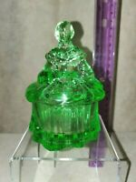 Mosser Art Glass Apple Green Covered Powder Candy Dish